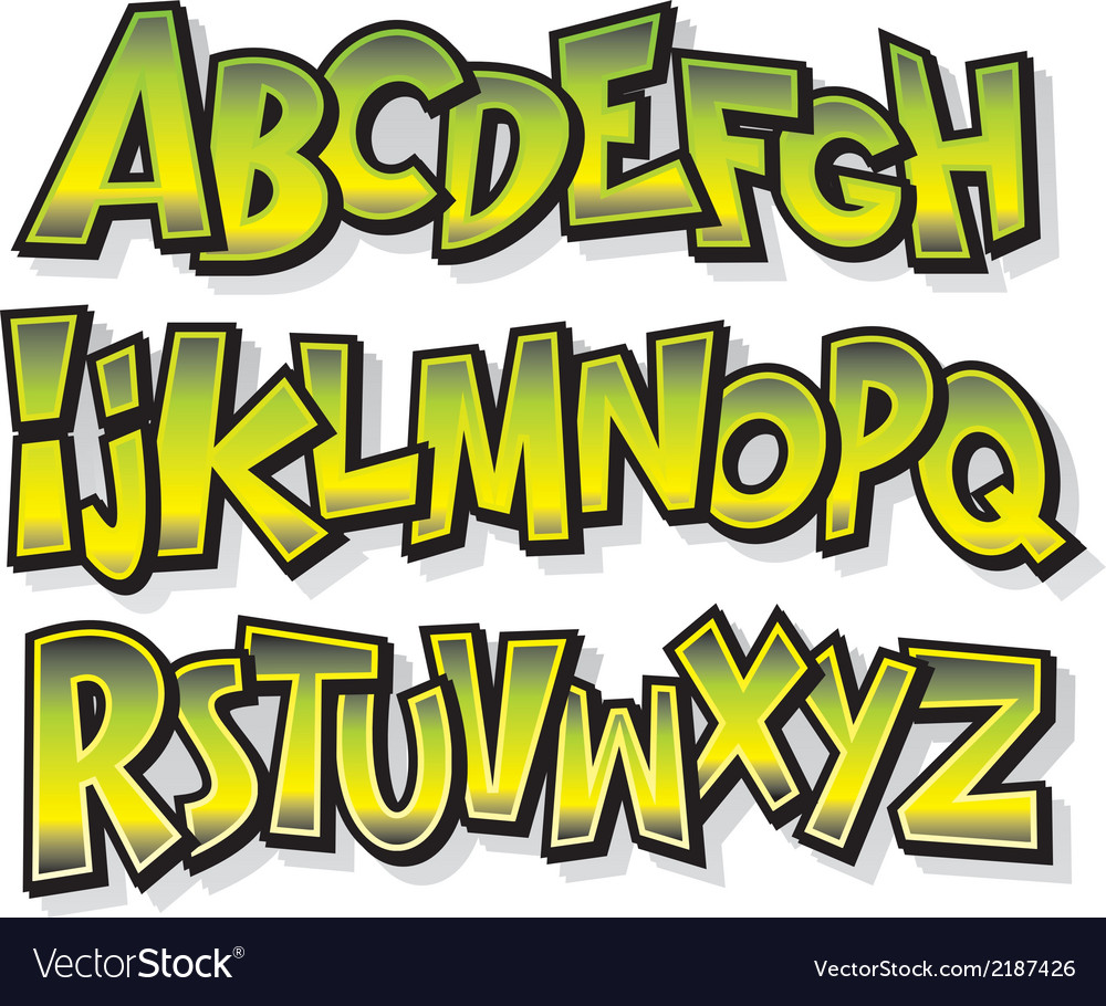 Cartoon comic doodle graffiti alphabet vector | Price: 1 Credit (USD $1)