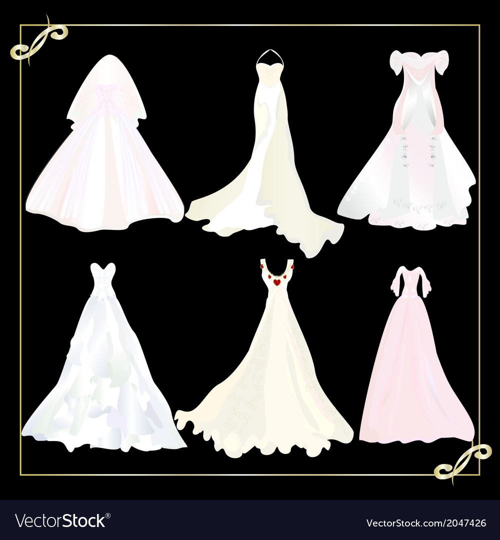 Collection of wedding dresses 1 vector | Price: 1 Credit (USD $1)