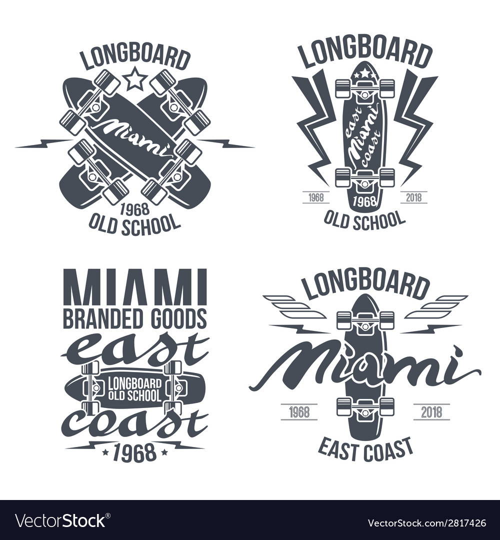 Longboard retro emblems vector | Price: 1 Credit (USD $1)