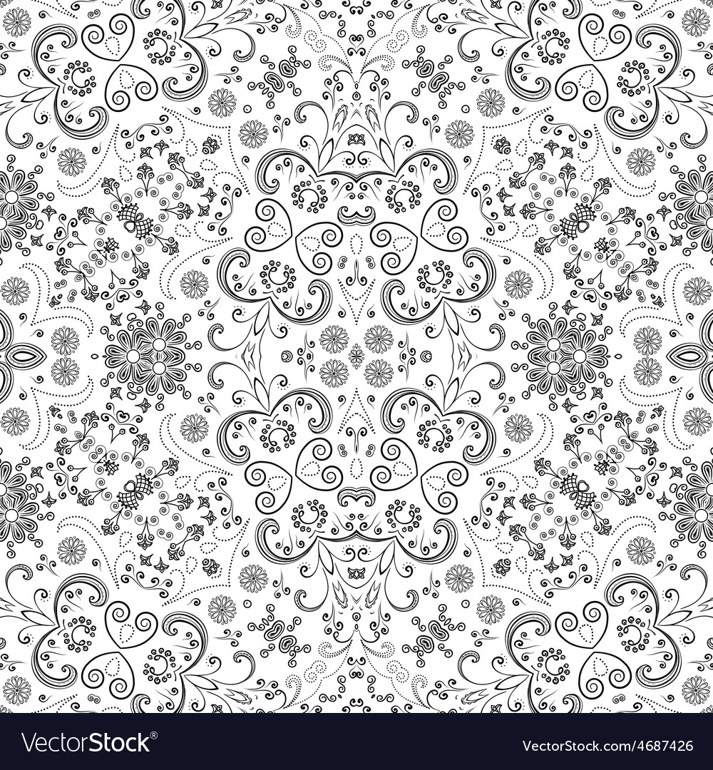 Seamless outline floral pattern vector | Price: 1 Credit (USD $1)