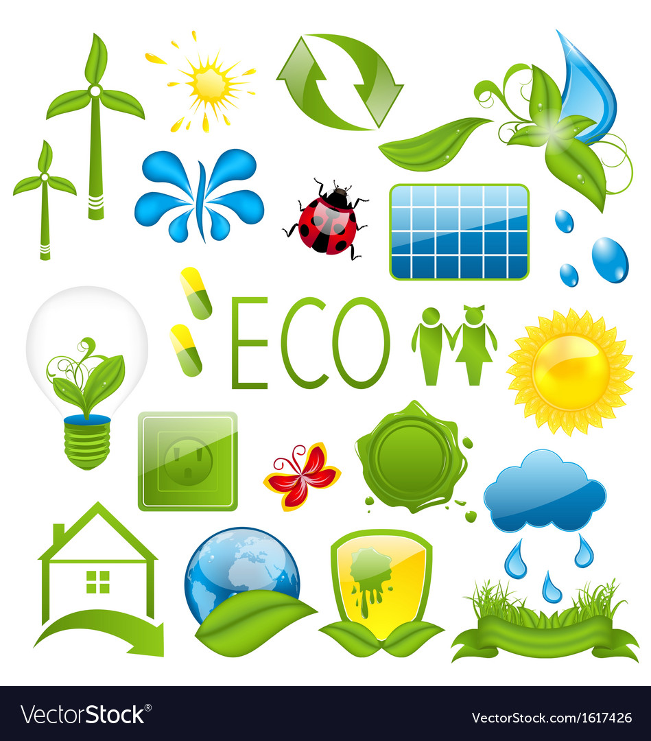 Set of green ecology icons 3 vector | Price: 1 Credit (USD $1)
