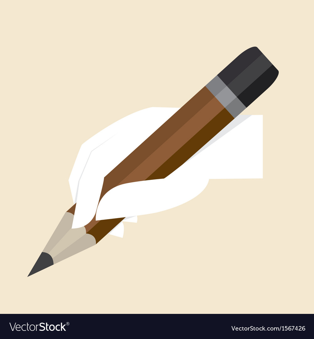 White hand with big pencil vector | Price: 1 Credit (USD $1)