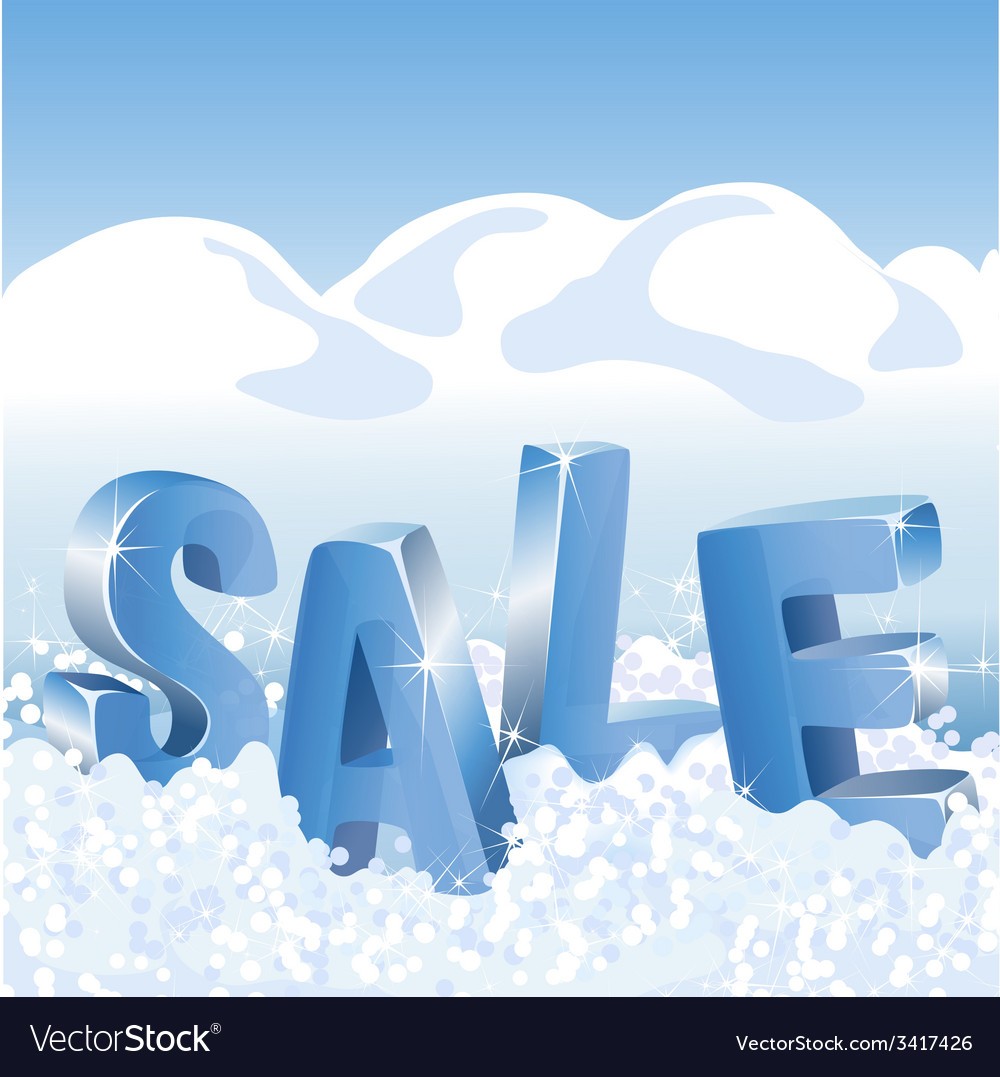 Winter sale blue tags in white snow vector | Price: 1 Credit (USD $1)