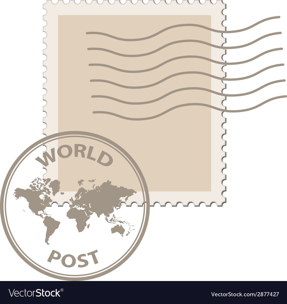 Blank post stamp with world map postmark vector | Price: 1 Credit (USD $1)