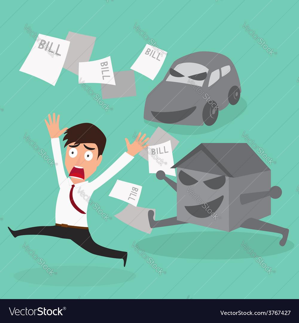 Businessman escape debt car house and bill vector   Price: 1 Credit (USD $1)