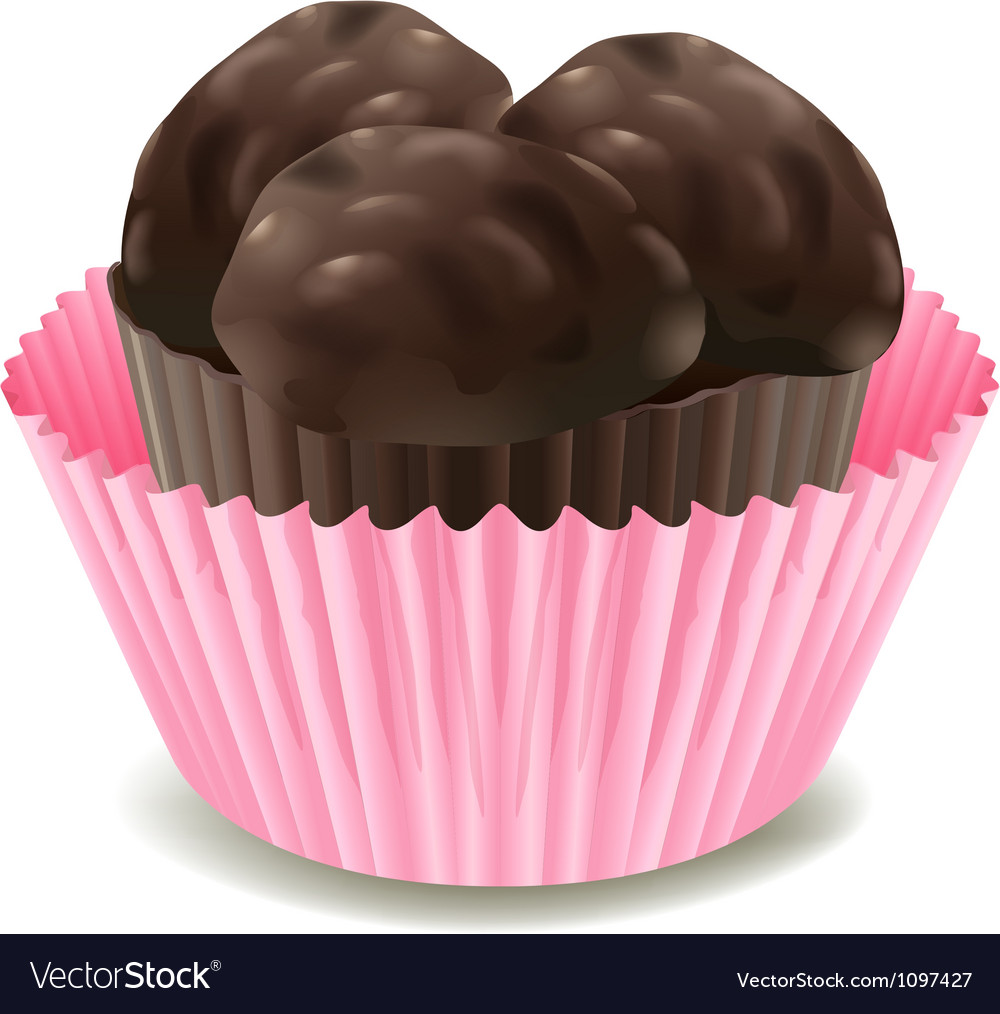 Chocolates in a pink cup vector | Price: 1 Credit (USD $1)