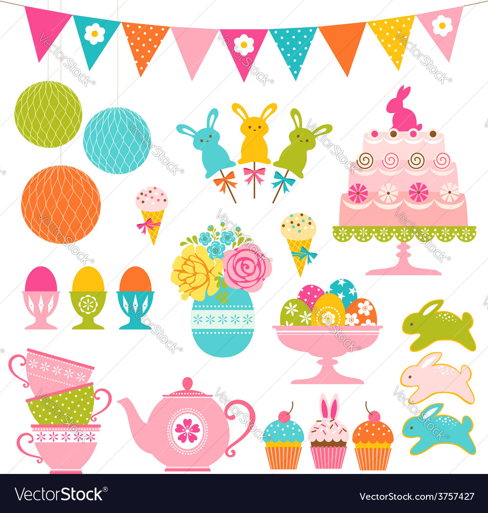 Easter party set vector | Price: 1 Credit (USD $1)