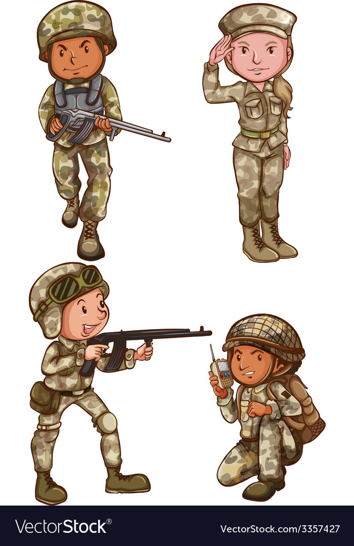 Four brave soldiers vector | Price: 3 Credit (USD $3)