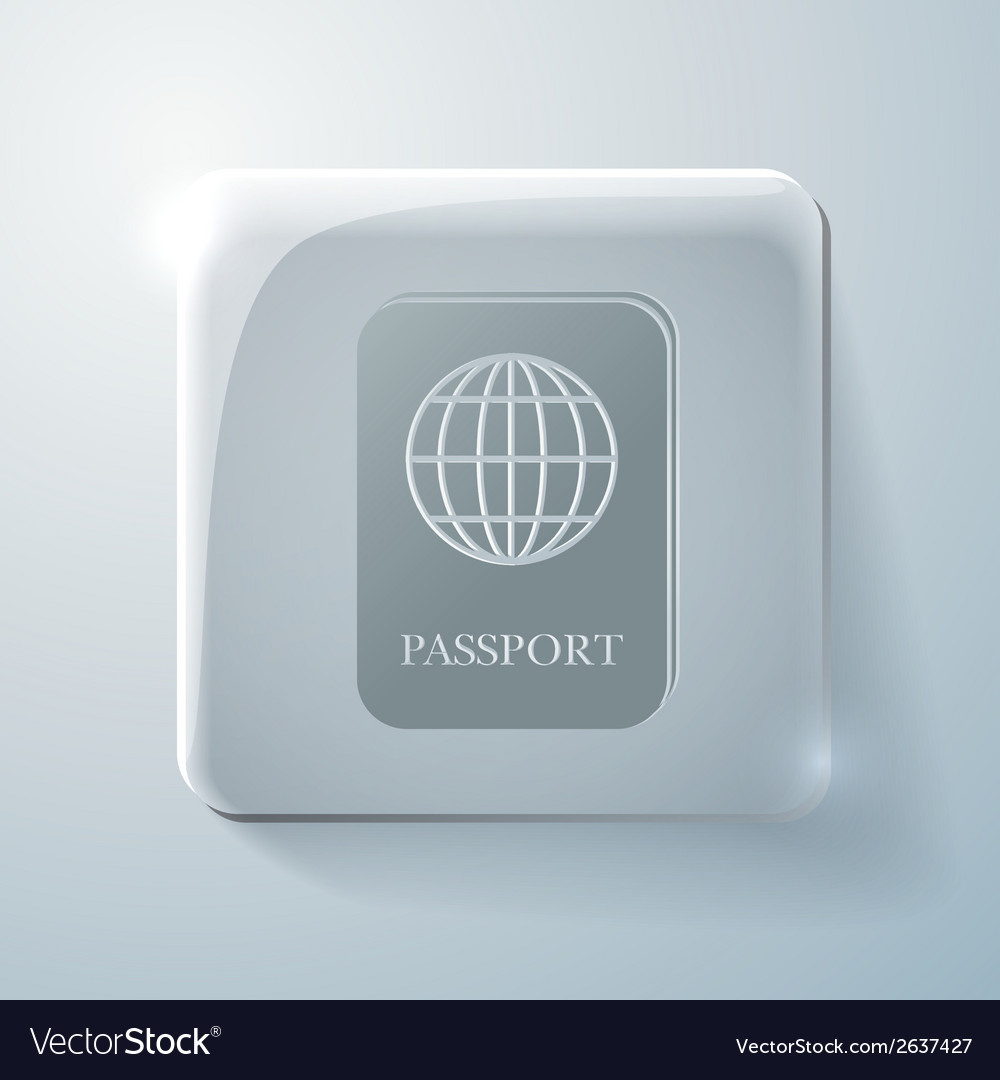 Glass square icon international passport vector | Price: 1 Credit (USD $1)