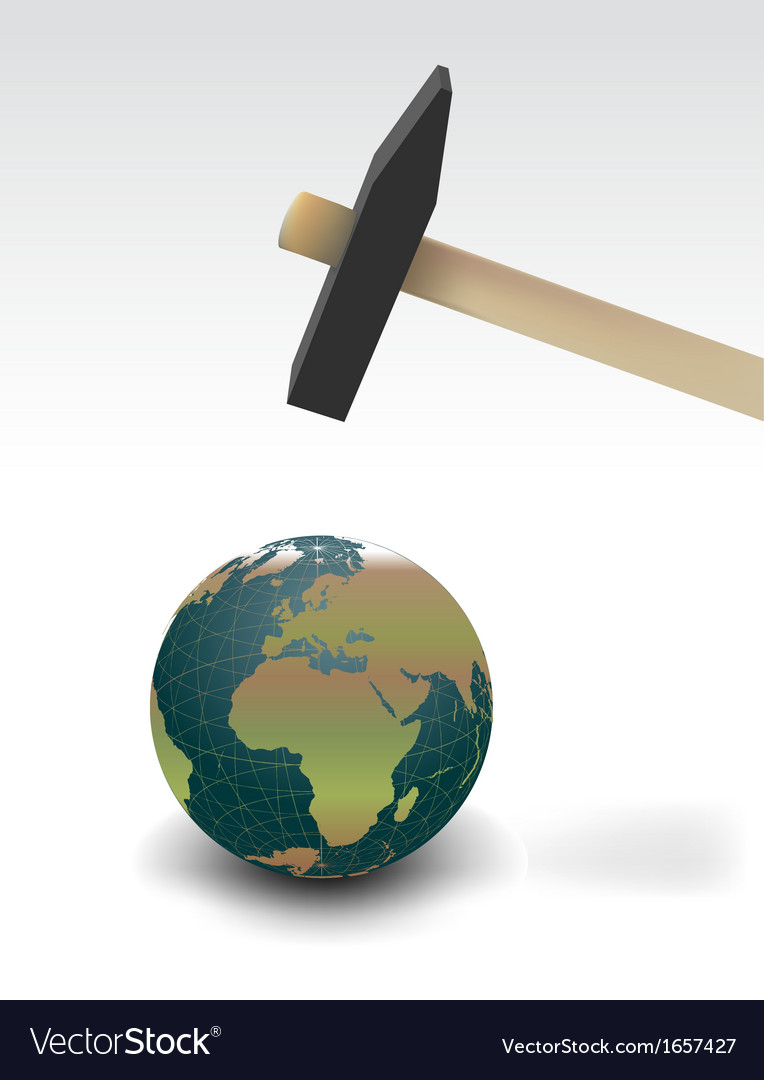 Hammer threatening planet earth isolated vector | Price: 1 Credit (USD $1)