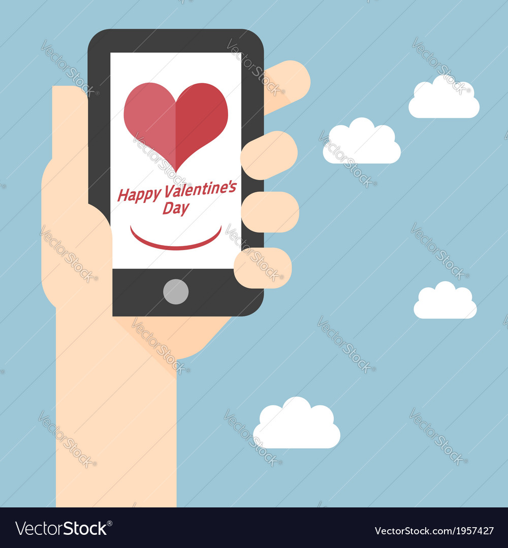 Happy valentines day on mobile vector | Price: 1 Credit (USD $1)