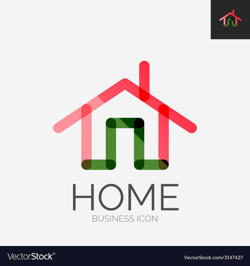 Minimal line design logo home icon vector | Price: 1 Credit (USD $1)