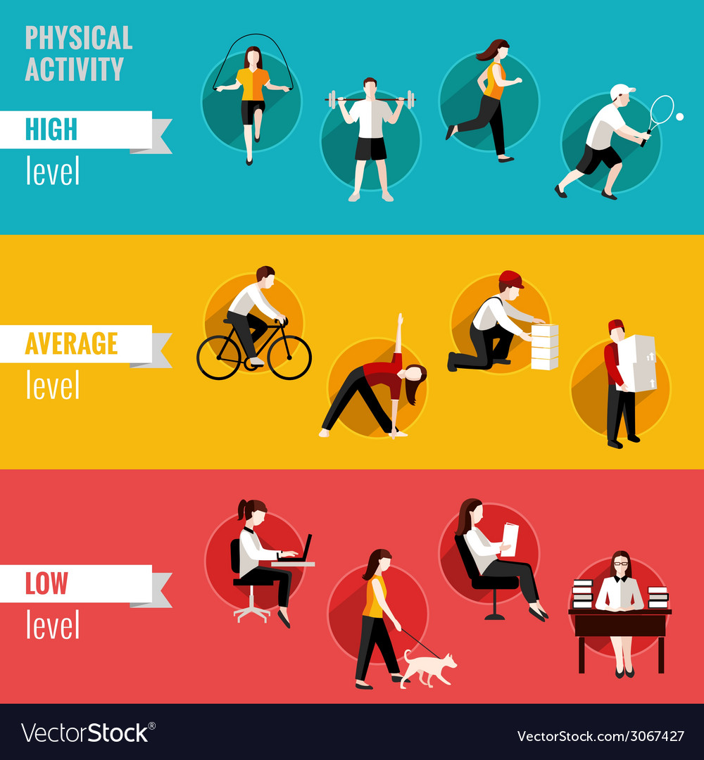 Physical activity horizontal banners vector | Price: 1 Credit (USD $1)