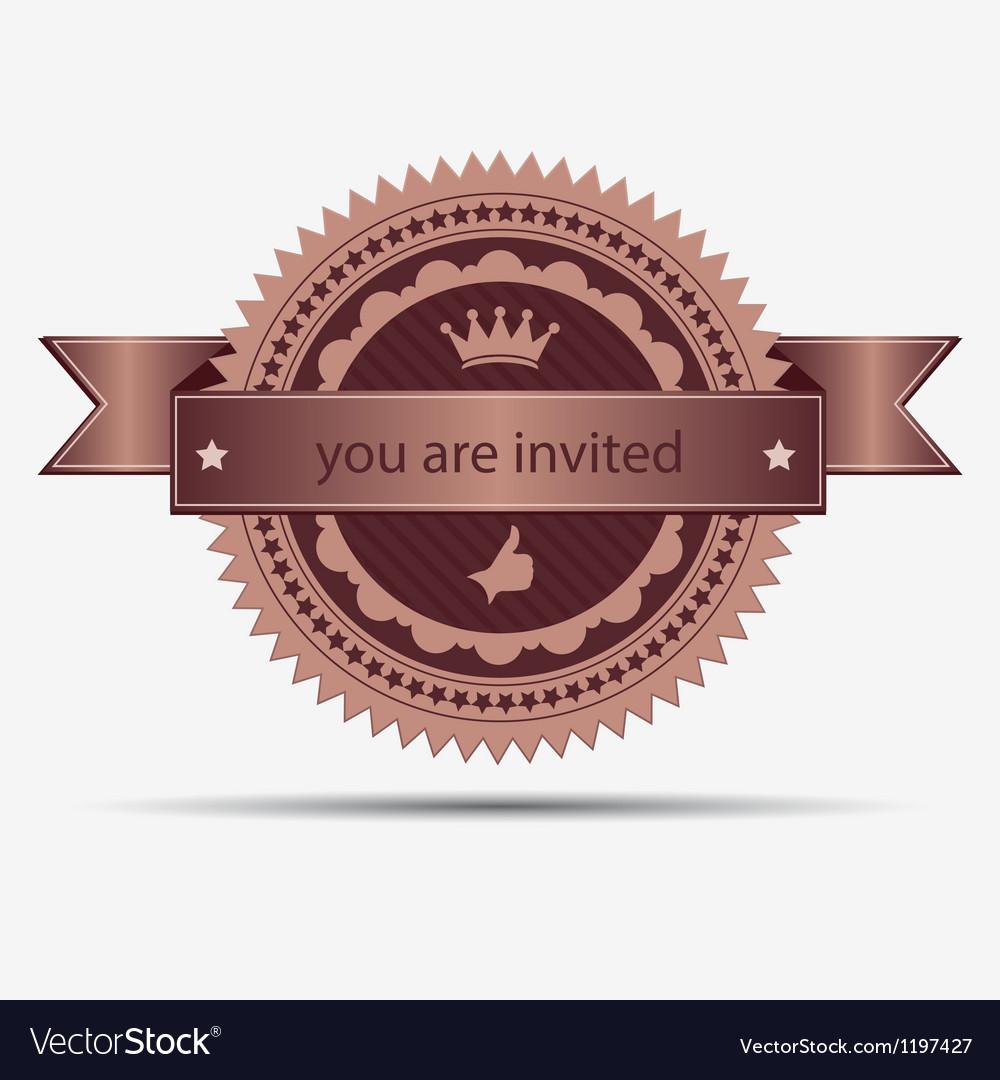 Retro invitation badge and label vector | Price: 1 Credit (USD $1)