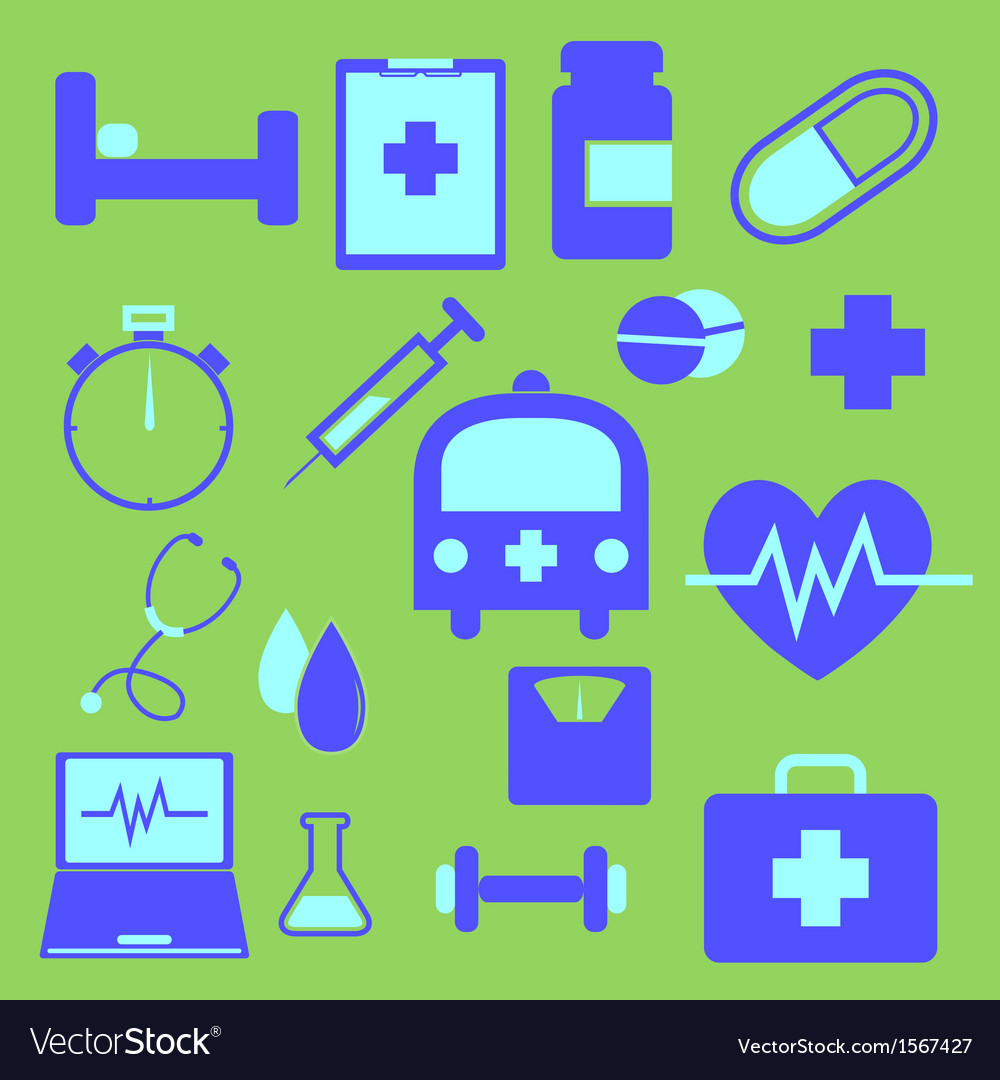 Set of health icons on green background vector | Price: 1 Credit (USD $1)