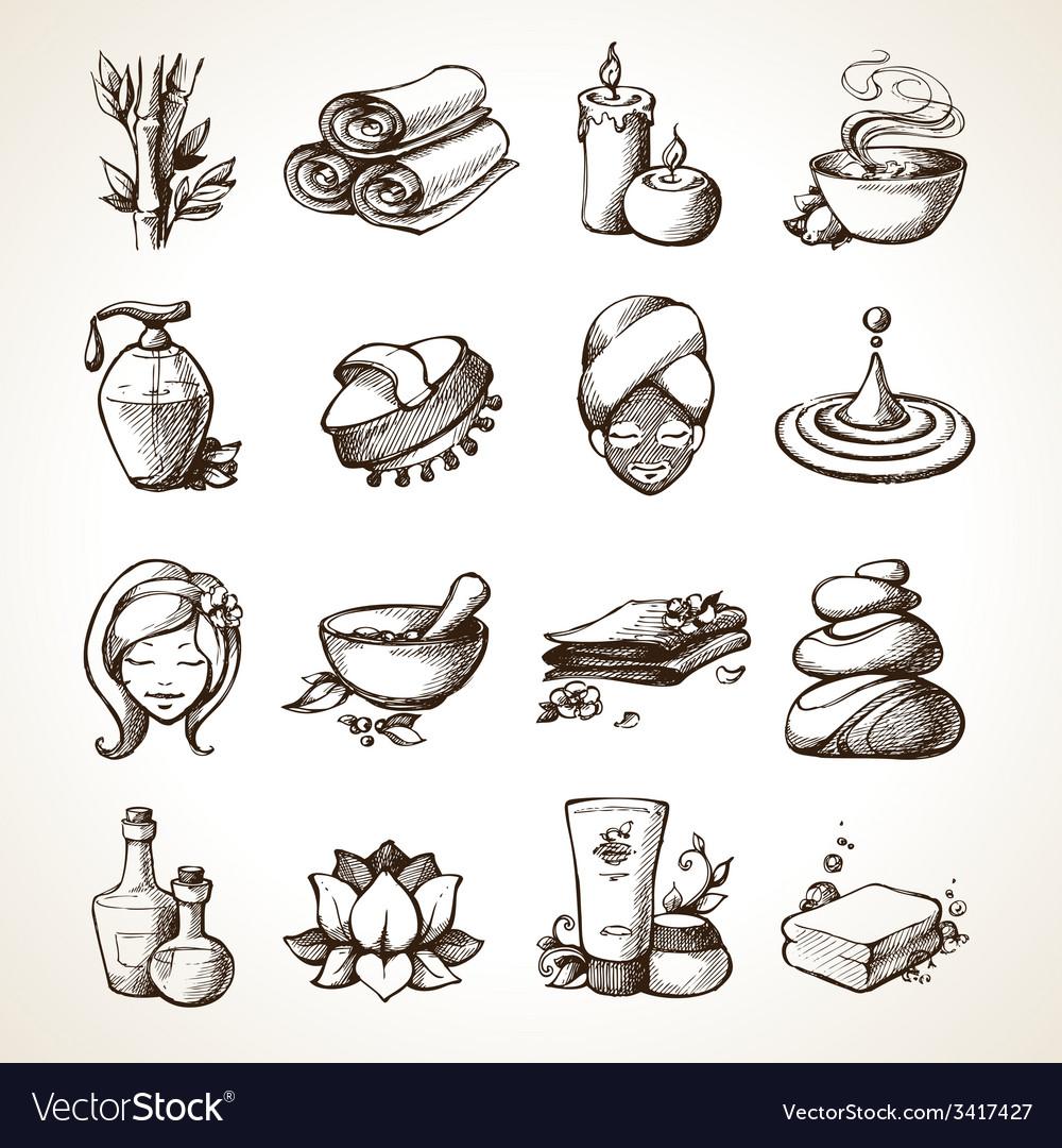 Spa sketch icons vector | Price: 1 Credit (USD $1)
