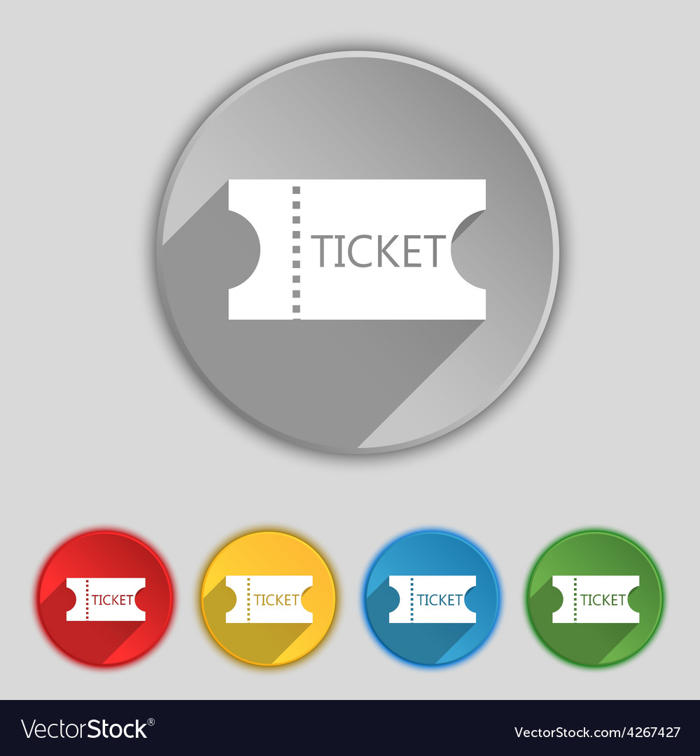 Ticket icon sign symbol on five flat buttons vector | Price: 1 Credit (USD $1)