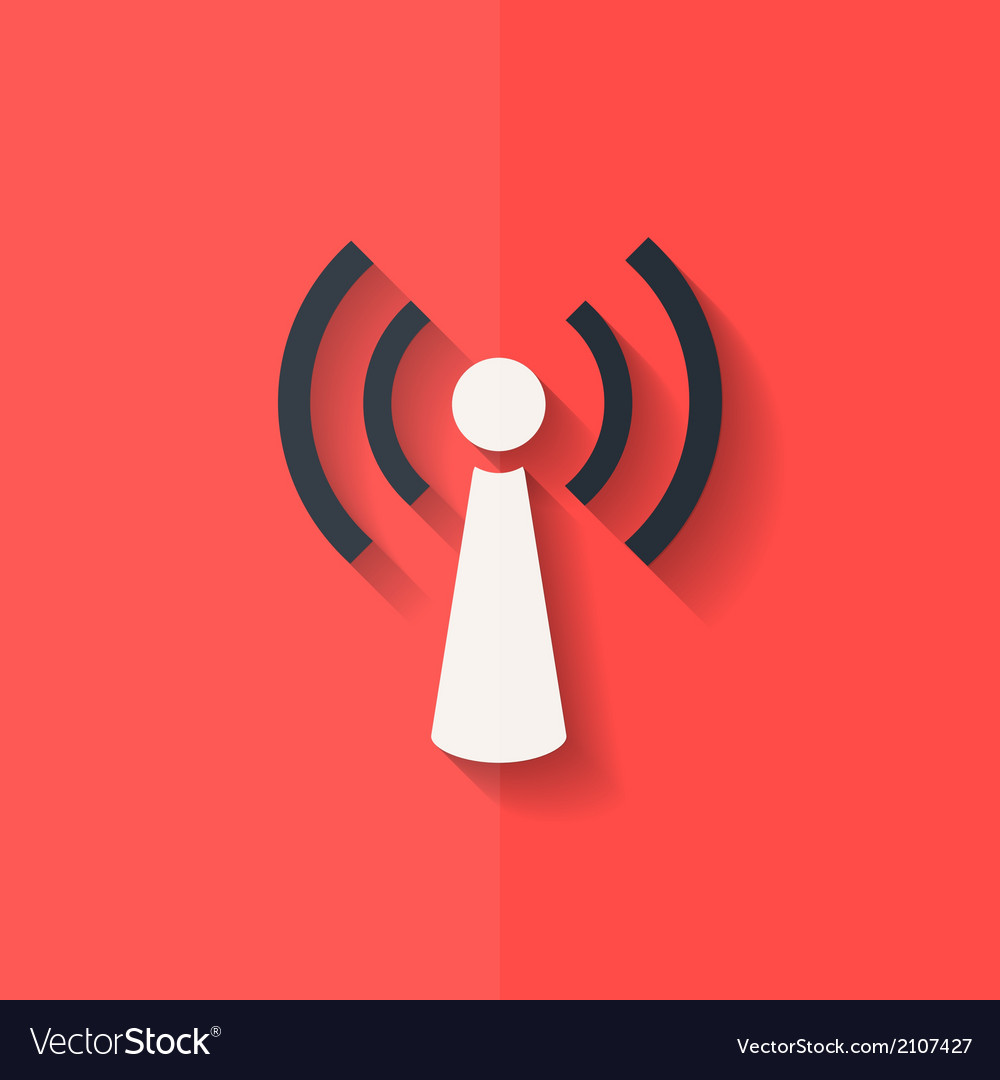 Wireless web icon flat design vector | Price: 1 Credit (USD $1)