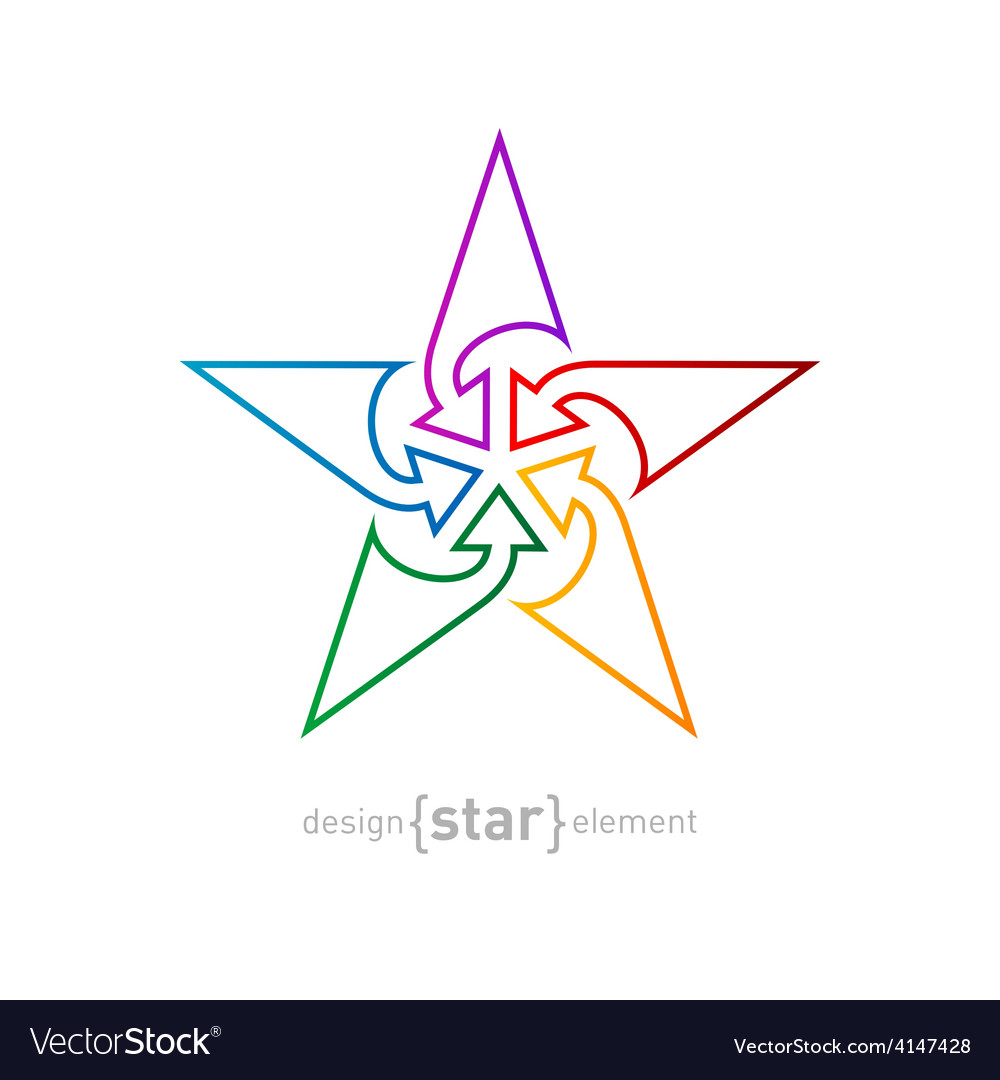 Abstract rainbow star design element made of thin vector   Price: 1 Credit (USD $1)