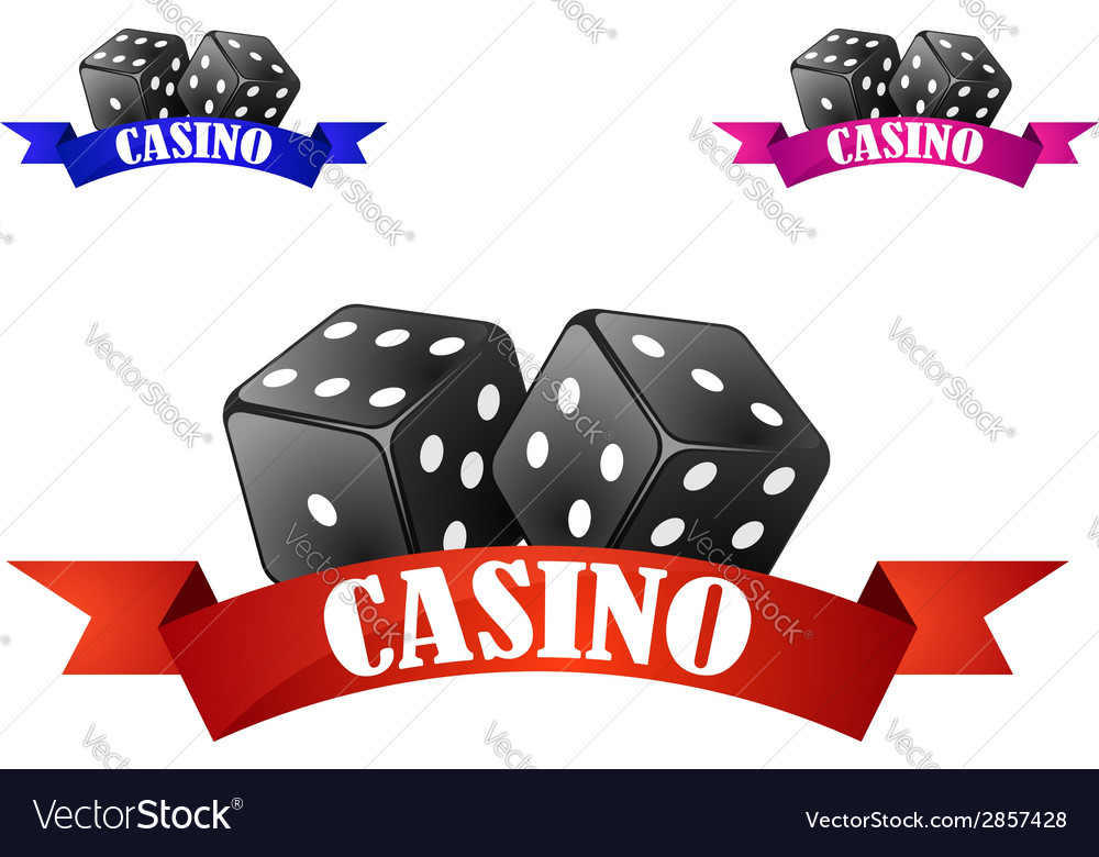 Casino dice symbol or badge with dice vector | Price: 1 Credit (USD $1)