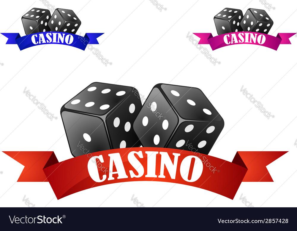 Casino dice symbol or badge with dice vector | Price: 1 Credit (USD $1)