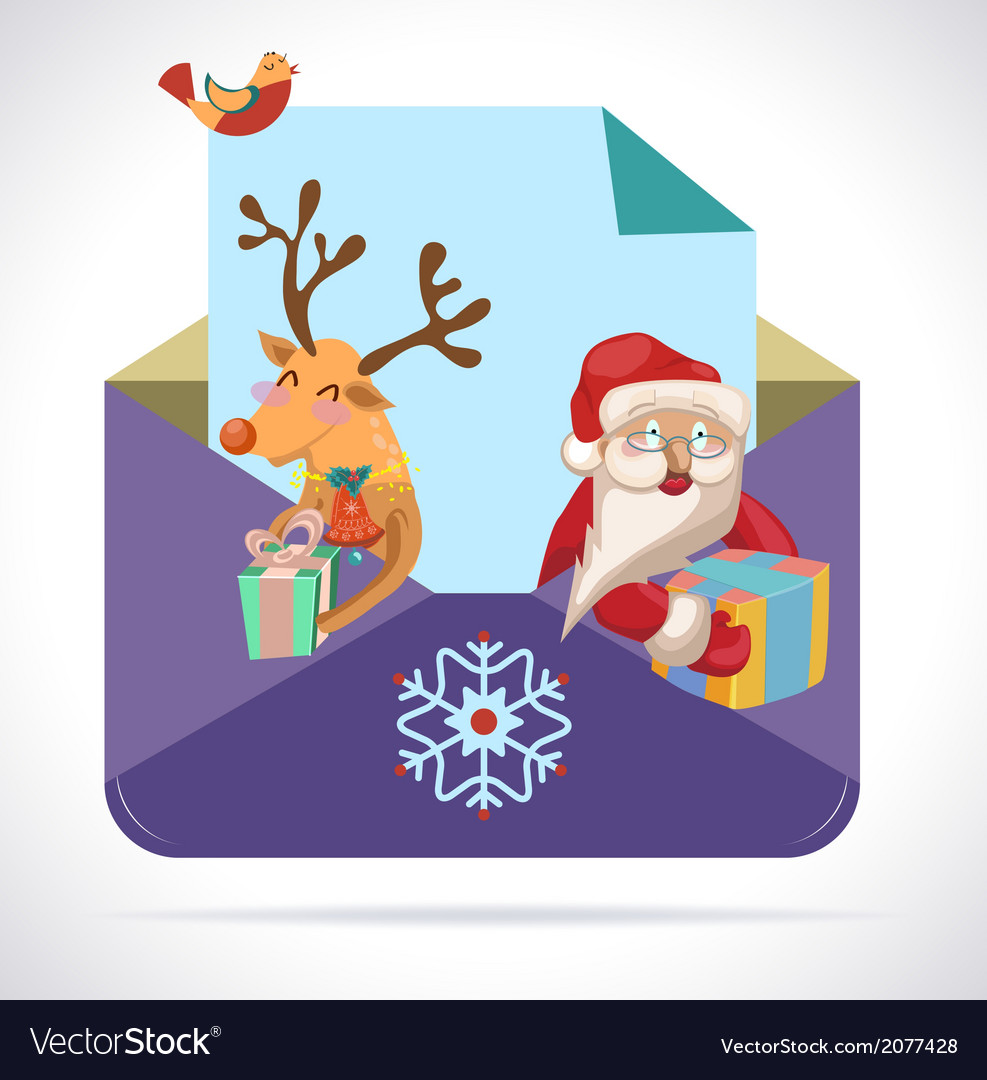 Christmas envelope with santa claus and deer with vector | Price: 1 Credit (USD $1)