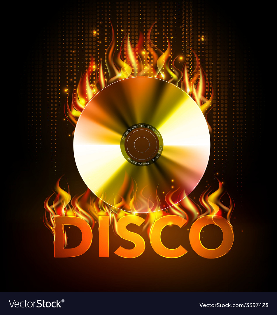 Disco fire background disck or record vector | Price: 3 Credit (USD $3)