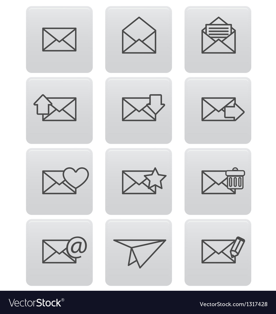 Envelope icons for email on gray squares vector | Price: 1 Credit (USD $1)