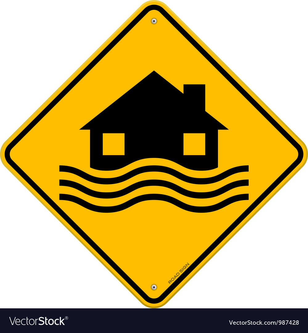 Flood disaster yellow sign vector | Price: 1 Credit (USD $1)