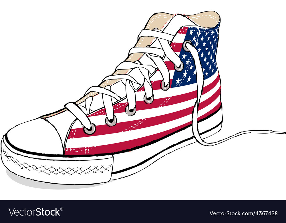 Hand draw modern sport shoes with usa flag vector | Price: 1 Credit (USD $1)