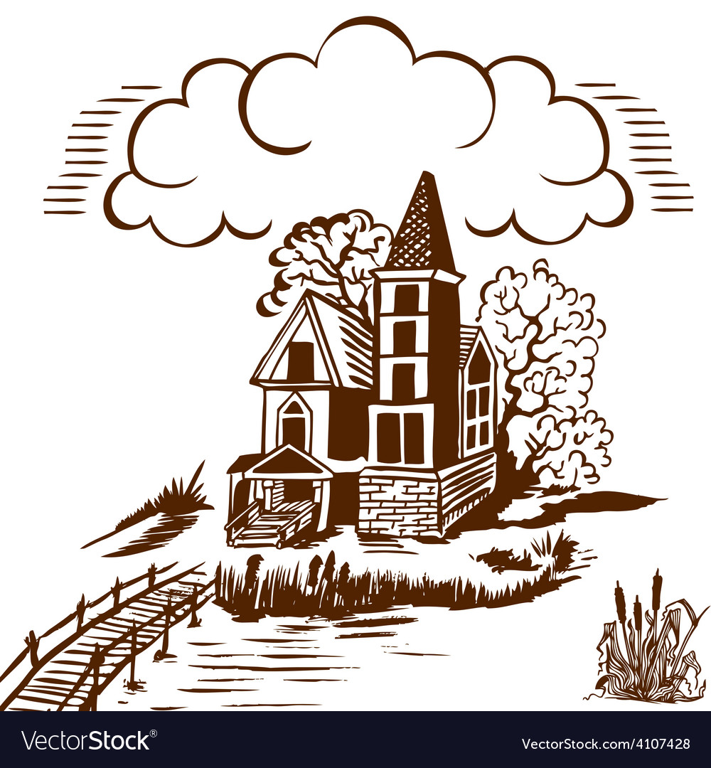 House near the water vector | Price: 3 Credit (USD $3)