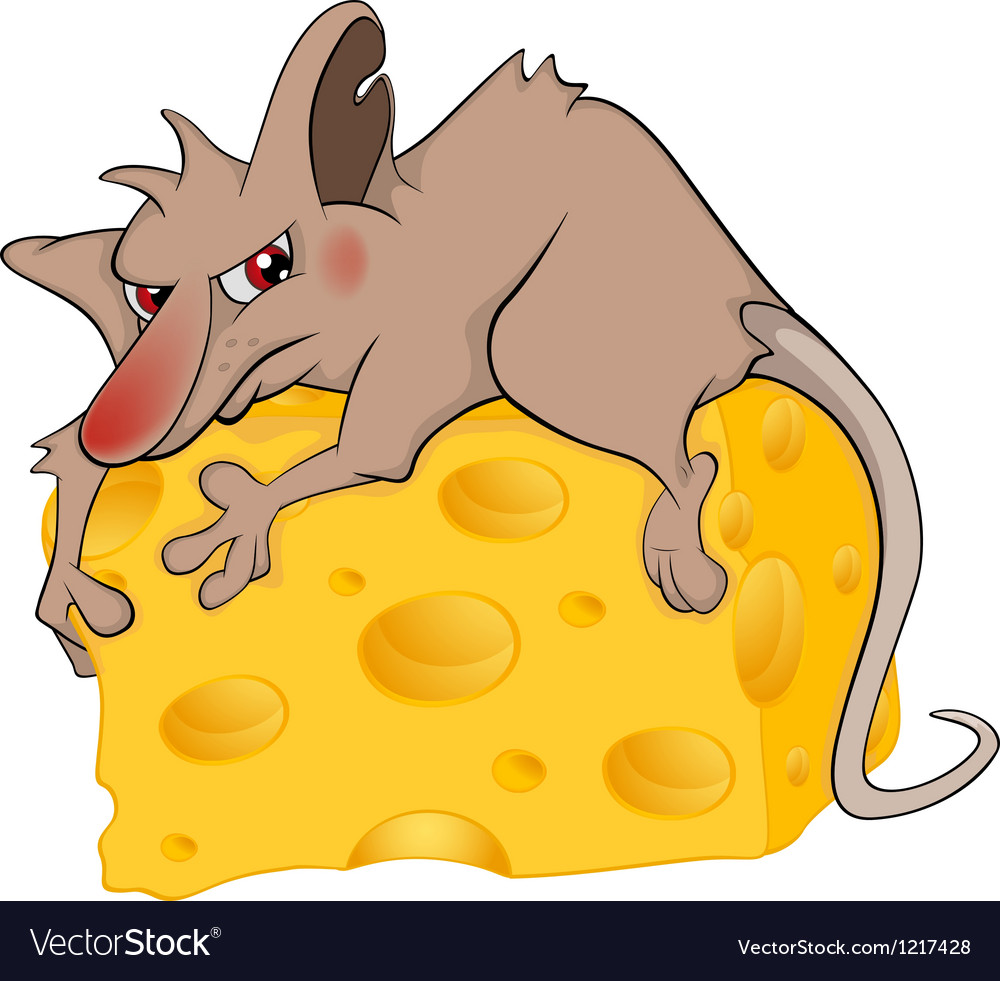 Rat and cheese piece cartoon vector | Price: 1 Credit (USD $1)