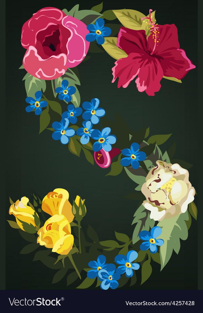S letter flower capital alphabet colorful font vector | Price: 1 Credit (USD $1)