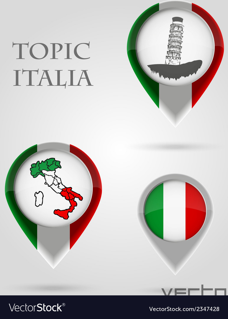 Topic italia map marker vector | Price: 1 Credit (USD $1)