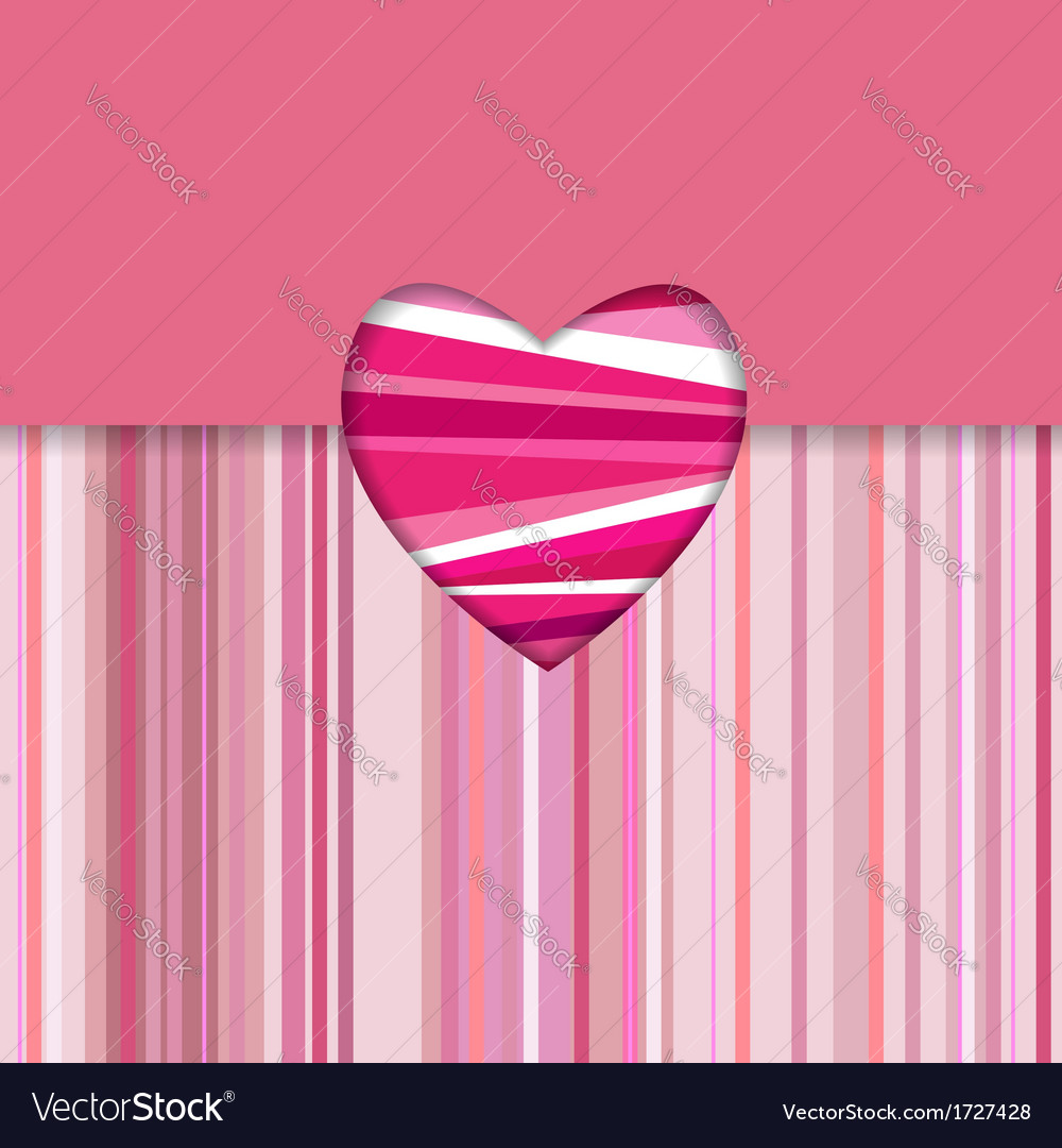 Valentine striped card horizontal vector | Price: 1 Credit (USD $1)