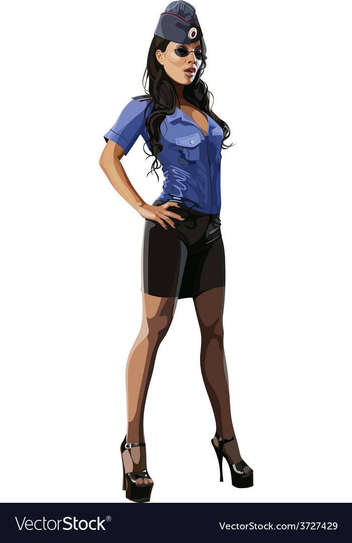 Beautiful sexy woman in police uniform blouse vector | Price: 3 Credit (USD $3)
