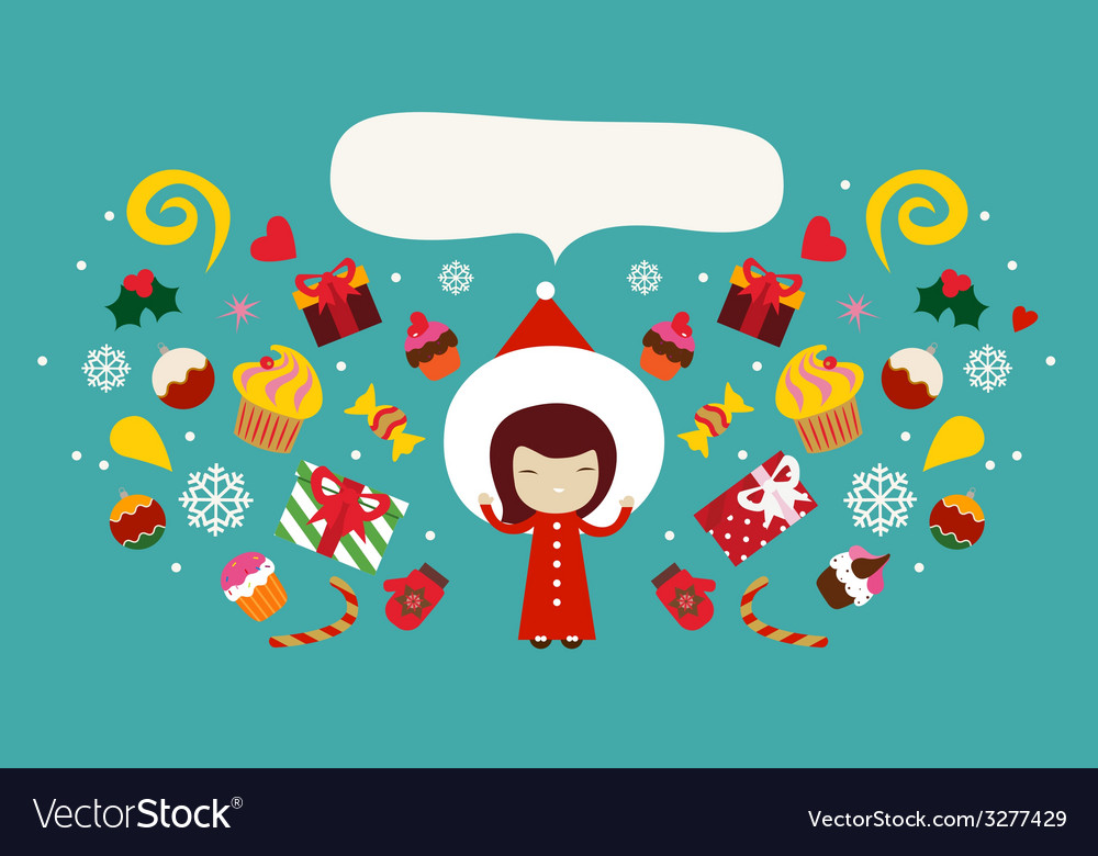 Christmas holiday design with cute girl vector | Price: 1 Credit (USD $1)
