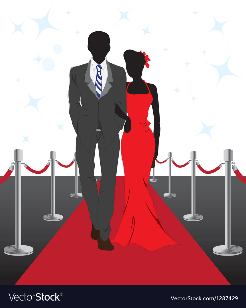 Couple on red carpet vector | Price: 1 Credit (USD $1)