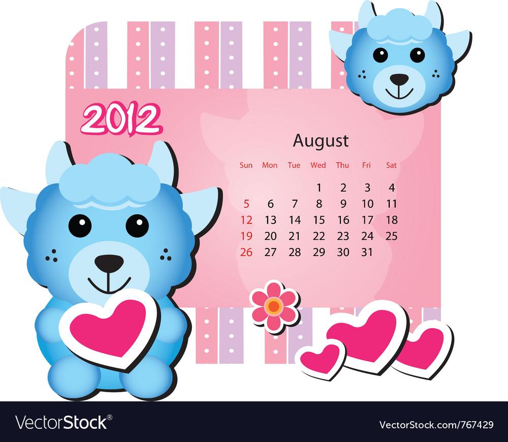 Cute animal calendar vector | Price: 1 Credit (USD $1)