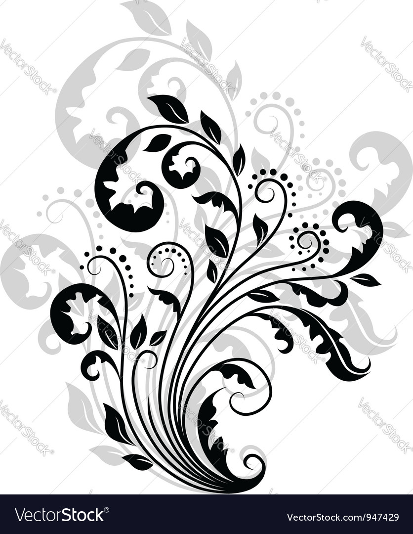 Floral pattern with reflection vector | Price: 1 Credit (USD $1)