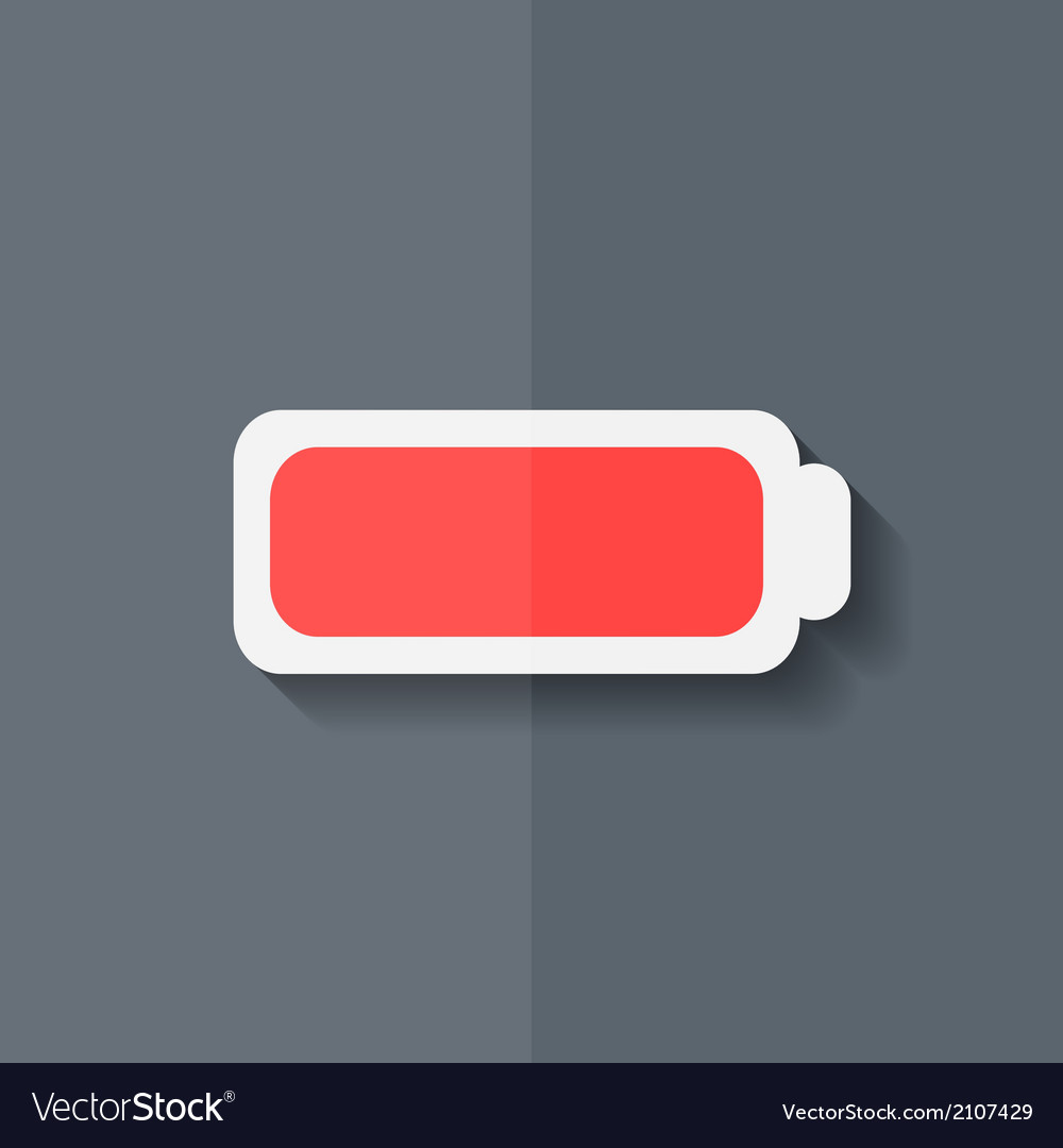 Full battery icon accumulator flat design vector | Price: 1 Credit (USD $1)