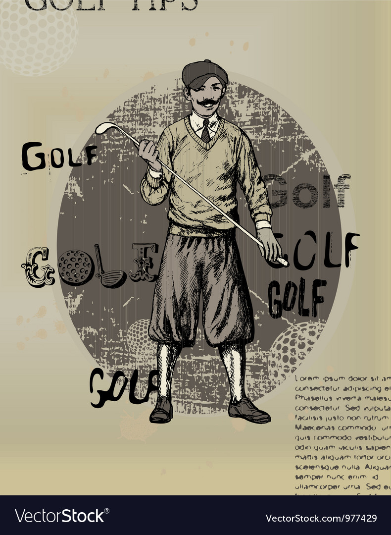 Golfing man old newspaper vector | Price: 1 Credit (USD $1)