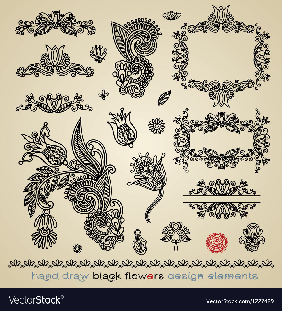 Hand draw black flower and frame element vector | Price: 1 Credit (USD $1)