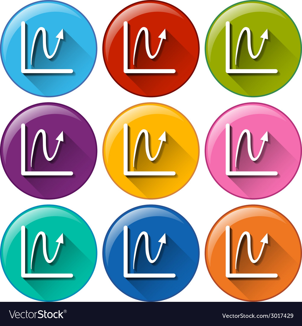 Round buttons with linear graphs vector | Price: 1 Credit (USD $1)