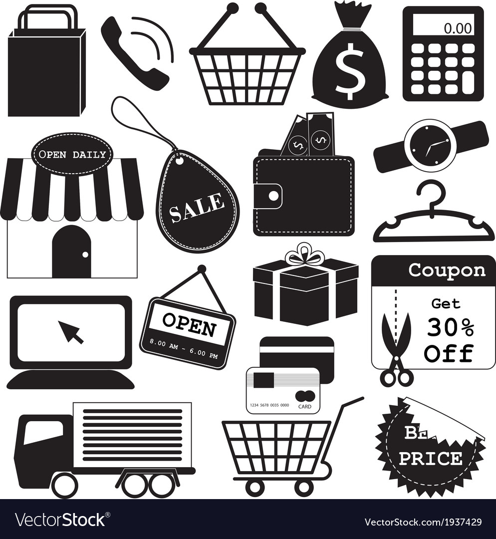 Shopping icons collection vector | Price: 1 Credit (USD $1)