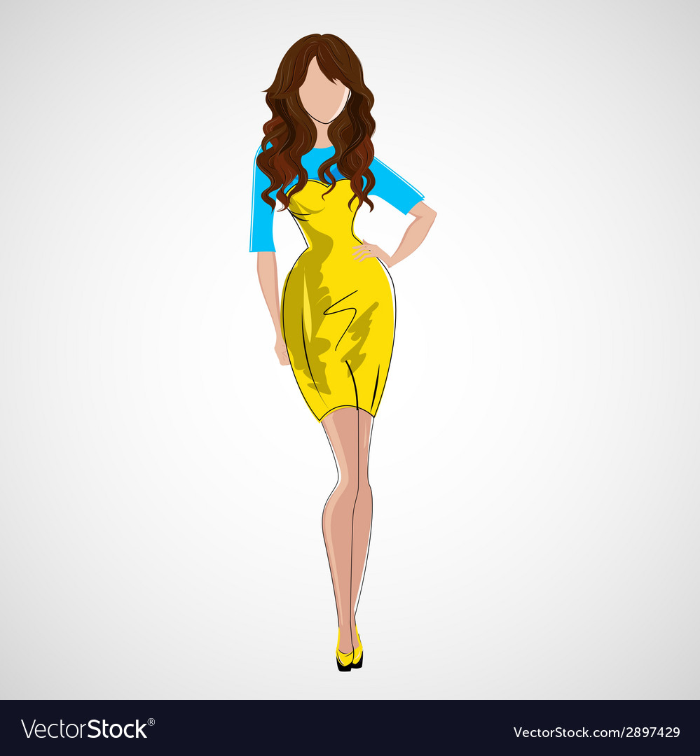 Sketch girl in fashion clothes eps vector | Price: 1 Credit (USD $1)