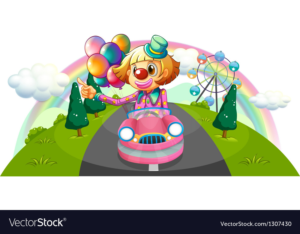 A pink car with a female clown vector | Price: 1 Credit (USD $1)