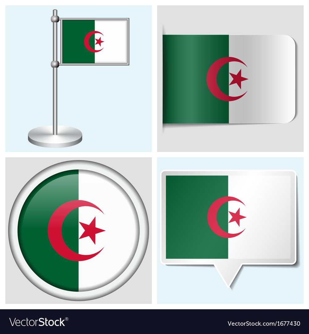 Algeria flag - sticker button label flagstaff vector | Price: 1 Credit (USD $1)