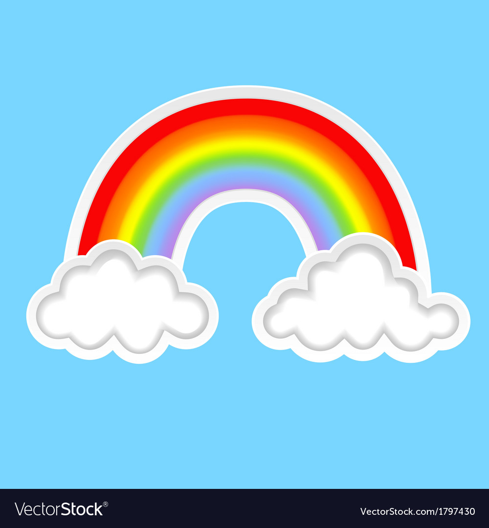 Clouds with rainbows b vector | Price: 1 Credit (USD $1)