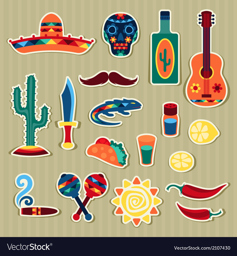Collection of mexican stickers in native style vector | Price: 1 Credit (USD $1)